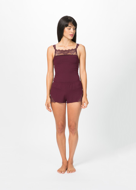 Only Hearts So Fine Sleep Shorts with Lace - Wine