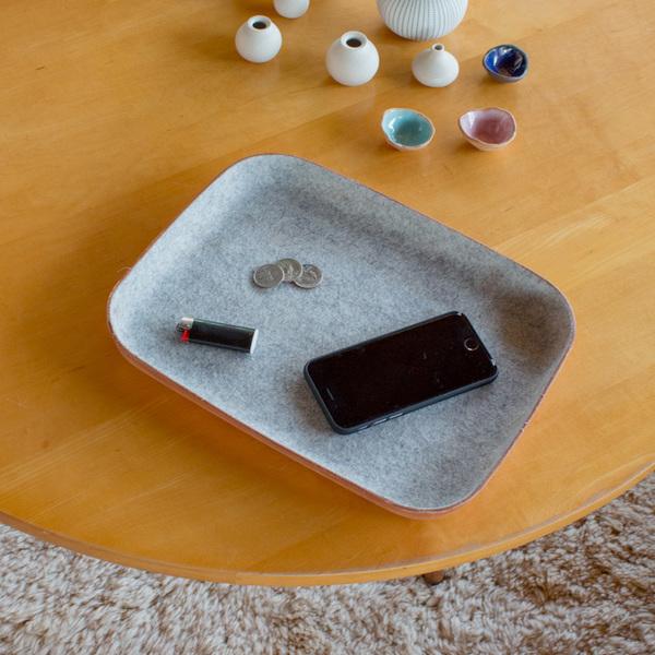 Unisex Graf & Lantz Large KAWABON Tan Leather & Granite Felt Tray