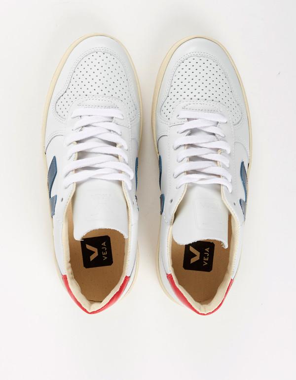 Veja V-10 Leather Sneaker Extra White Nautico Pekin