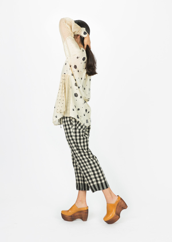 Pero Flower Print Pinched Blouse