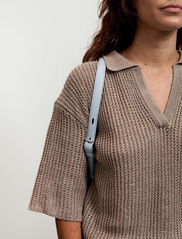 Kara Womens Small Shearling Backpack Sky Blue