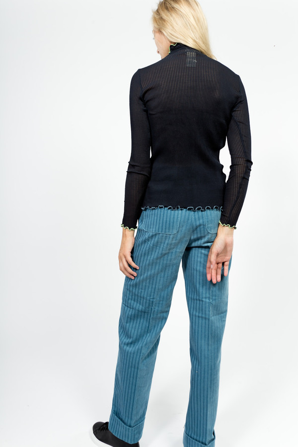 Trademark Lattice Trim Silk Turtleneck