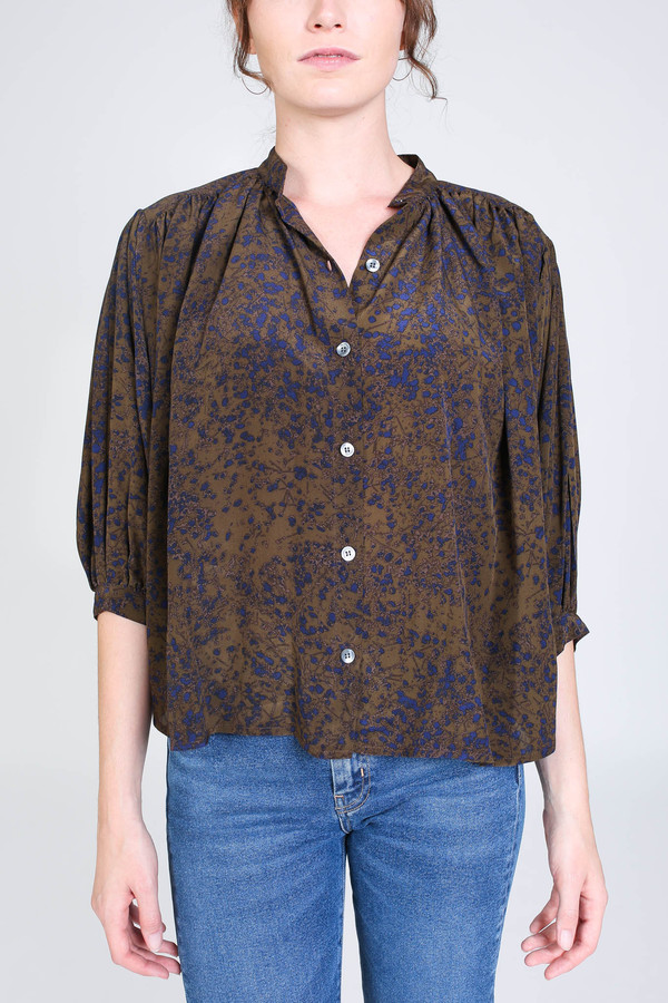 No.6 Store Circle blouse in olive spray