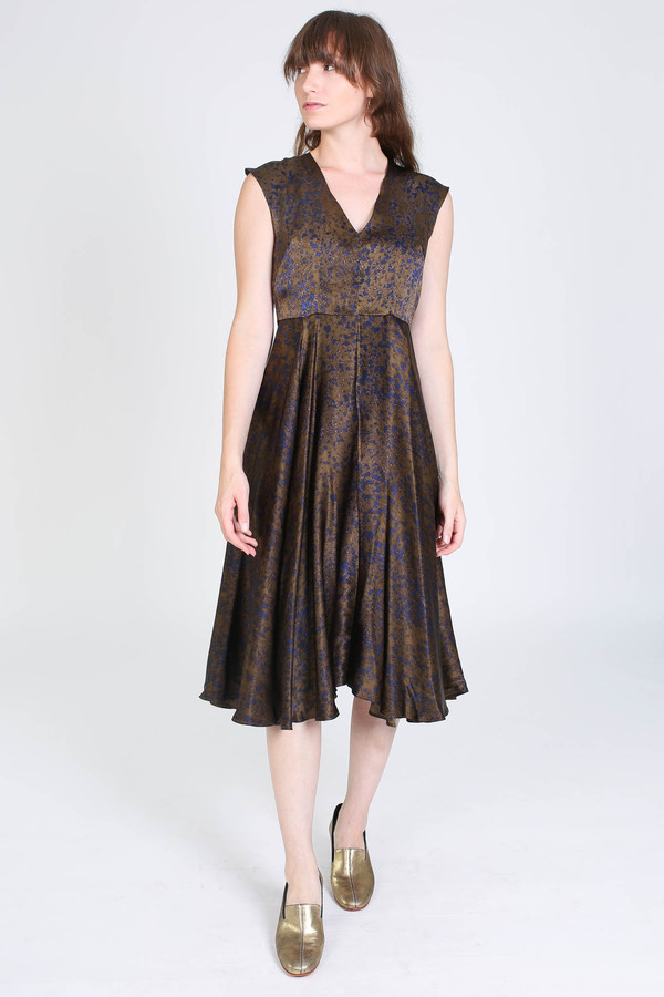 No.6 Store V neck dress in olive spray