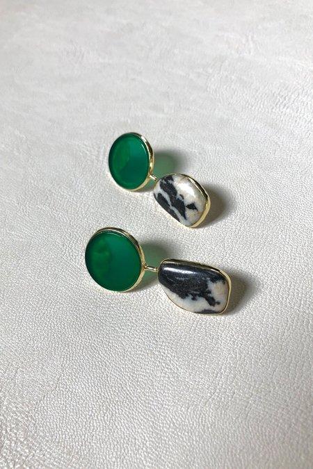 Ora-C Zebra Jasper Earrings with Green Agate