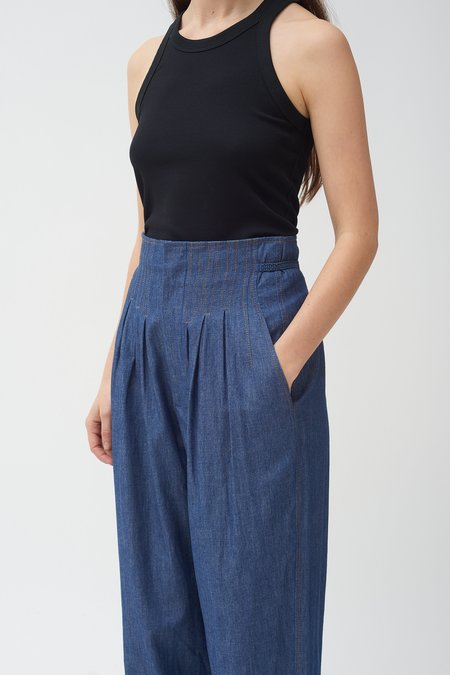 Colovos High waisted chambray pants - Blue