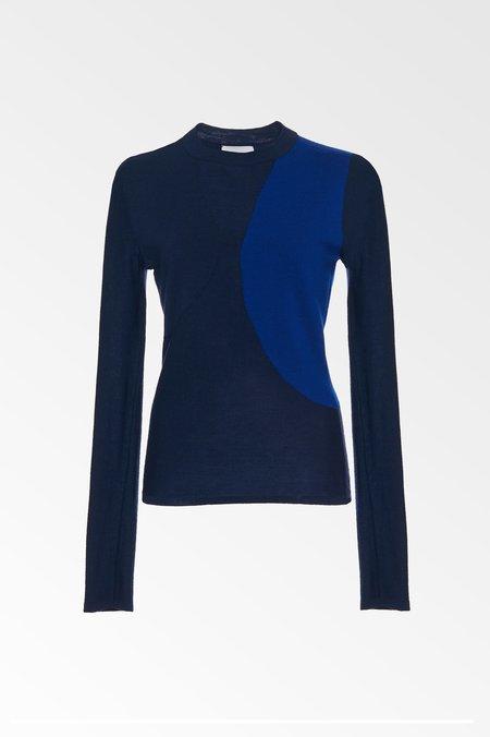 Colovos x Woolmark Merino Wool Scuba Knit Sweater - Navy/cobalt