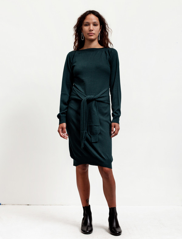 MM6 by Maison Margiela Womens Tie Sleeves Dress Pine