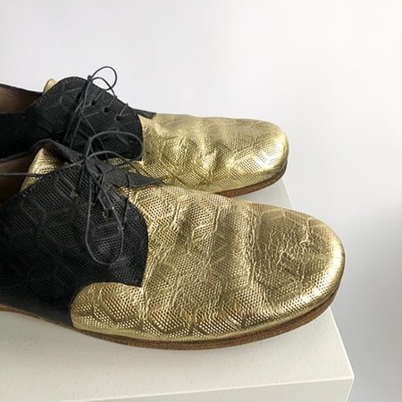 [pre-loved] Marsèll Marsell Metallic Lace Up Shoes - black/gold