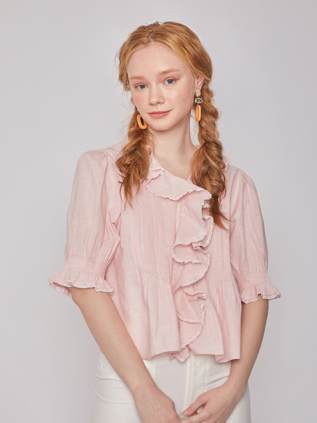 BLNC Ruffled Linen Top - Powder Pink