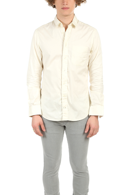 Blue&Cream Pinpoint Button Down Top - Ivory