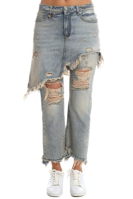 R13 Double Classic Shredded Jeans - Leighton Blue