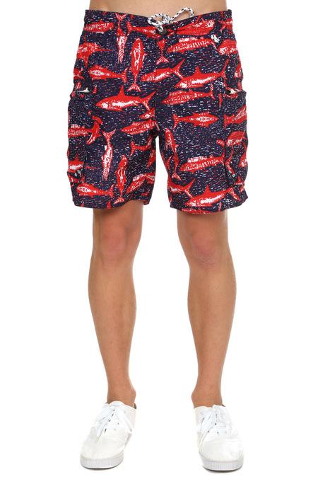 Burkman Bros Cargo Swim Short Swimwear - Navy Fish