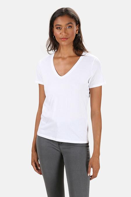 Majestic Filatures Cotton Silk V Neck T-Shirt - Blanc