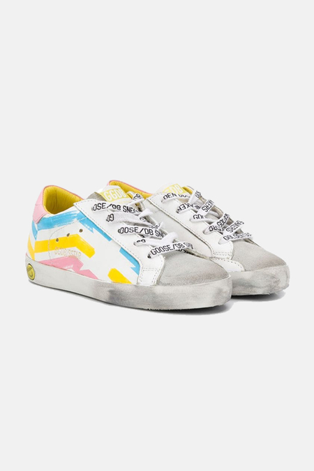 kids Golden Goose Superstar Toddler Sneaker Shoes - Multicolor Flag