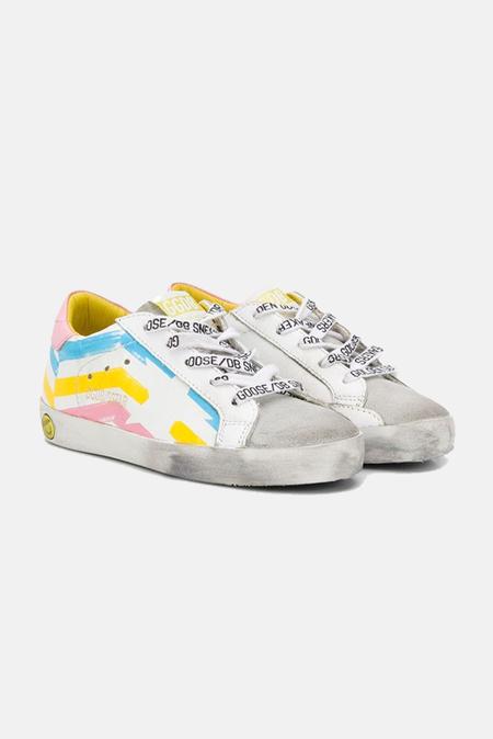 kids Golden Goose Superstar Sneakers Shoes - Multicolor Flag