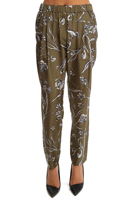 3.1 Phillip Lim Floral Print Draped Trouser - Dark Olive