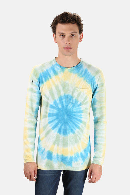 Jungmaven Reverbation Baja Long Sleeve Graphic Classic T-Shirt - Pool Blue/Saltwater/Sunray