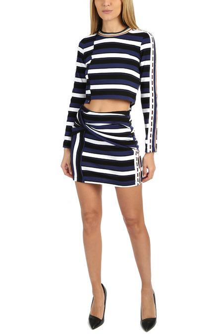 3.1 Phillip Lim Striped Wrap Mini Skirt - Cobalt Black