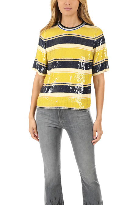 3.1 Phillip Lim Striped Sequin Top - Chartreuse/Navy