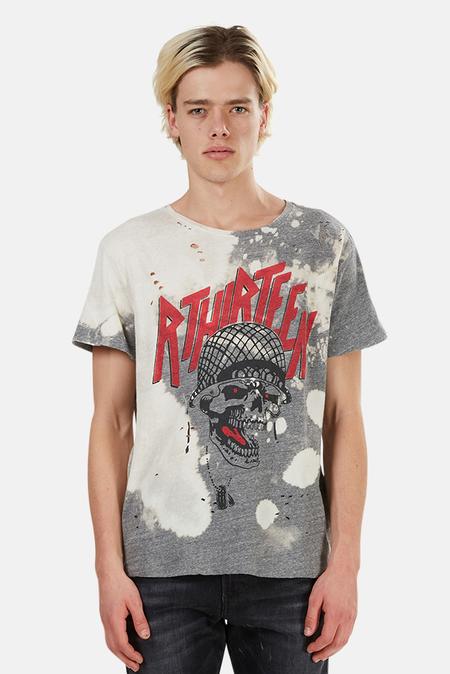 R13 Battle Punk Boy Graphic T-Shirt - Grey/Bleached