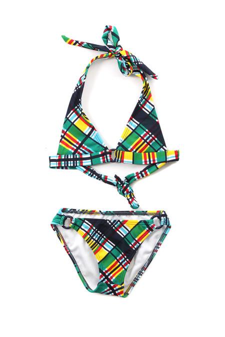 kids Shoshanna Plaid Ring Halter Bikini - Plaid Multi