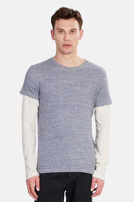 BCNY Blue&Cream Double Layer T-Shirt - Navy/Oatmeal