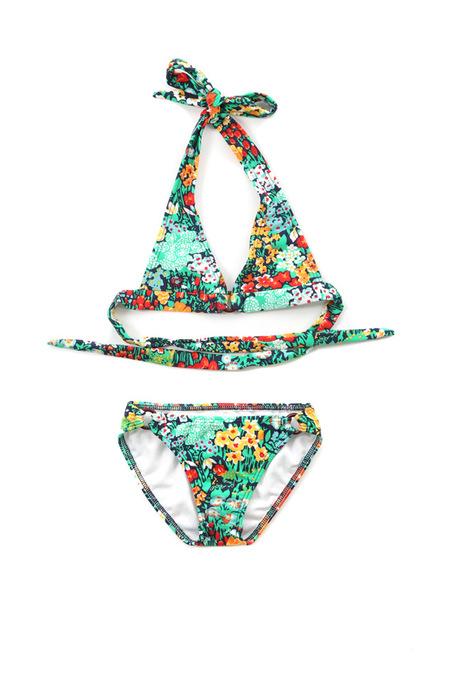 kids Shoshanna Floral Ring Halter Bikini - Floral Garden