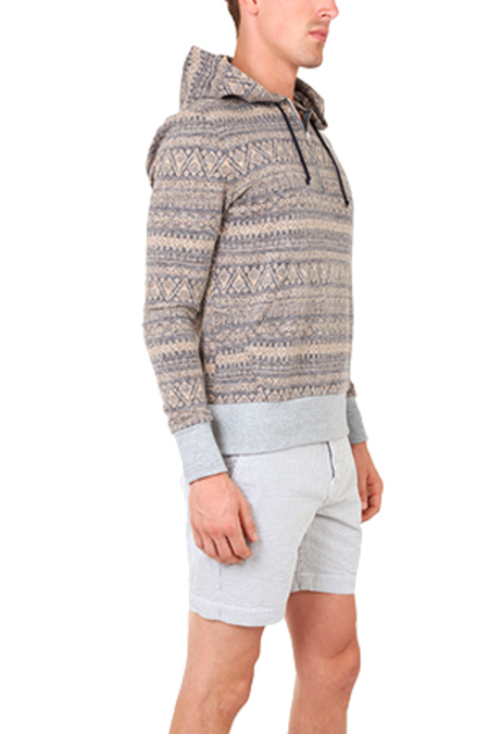Blue&Cream Zip Hoody Sweater - Aztec