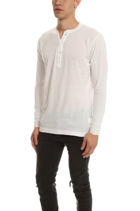 Shuttle Notes Brushed Henley Top - White