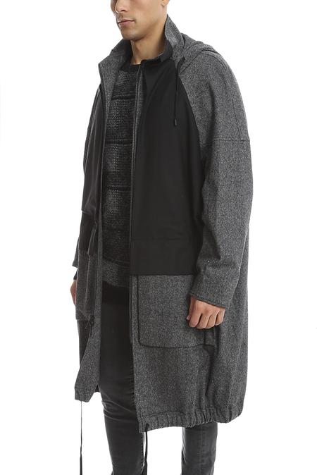 Public School Oversized Overlay Parka Jacket - Grey/Black