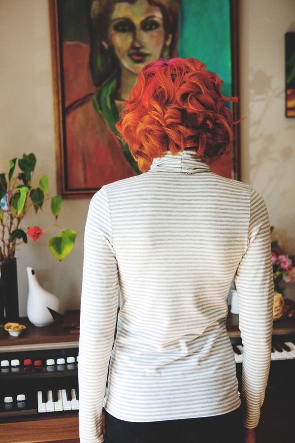 Betina Lou Viviane Turtleneck (Ivory & Grey Stripes)
