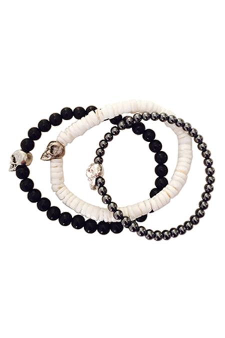 Duchess of Malfi Skull Bead Bracelet - White/Black