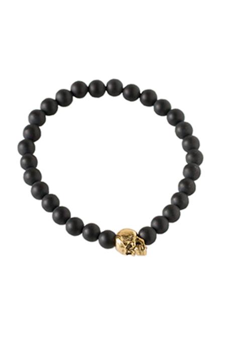 Duchess of Malfi Matte Onyx Skull Bracelet - Black/Gold