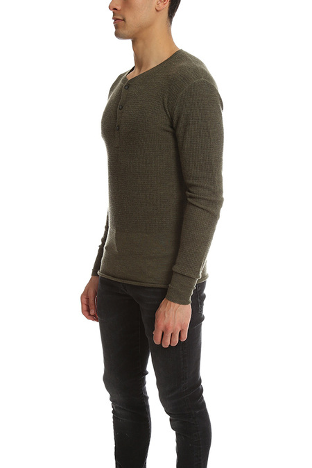 3.1 Phillip Lim Incomplete Waffle Henley LS Top - Green