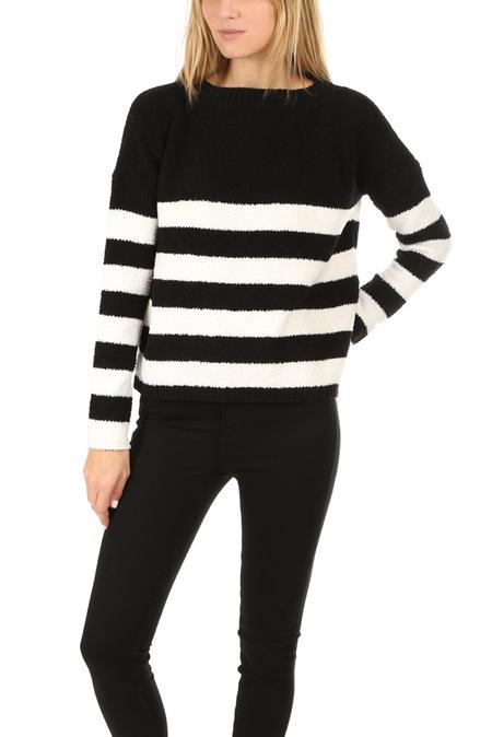 ATM Chenille Boat Neck Sweater - Black/Chalk Stripe