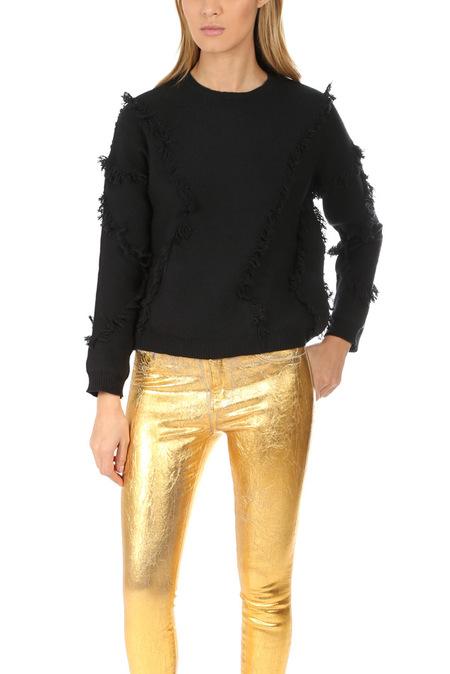 ATM Wool Fringe Sweater - Black