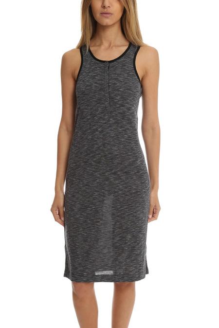 ATM Sleeveless Melange Henley Dress - Midnight/Steel