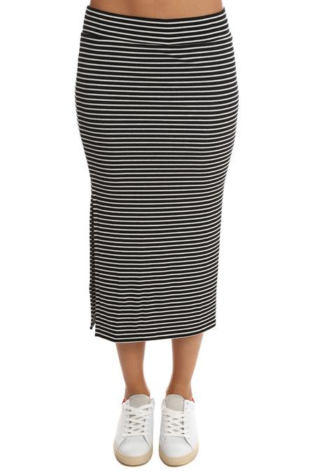 ATM Striped Rib Skirt - Black/White