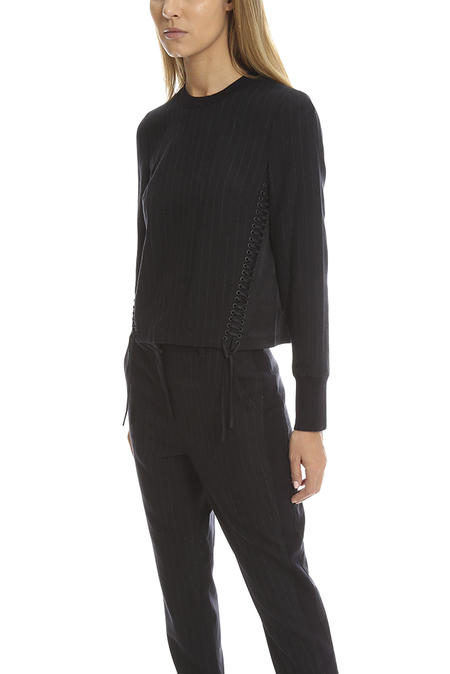 3.1 Phillip Lim Corset Seamed Pinstripe Crewneck Sweater - Midnight Blue