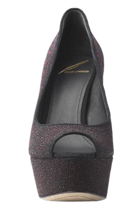 B Brian Atwood Bambola Peep Toe Sparkle Leather Shoes - Fuchsia Sparkle