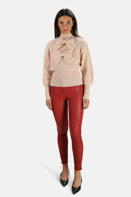 FRAME Le High Leather Skinny Pants - Dark Red