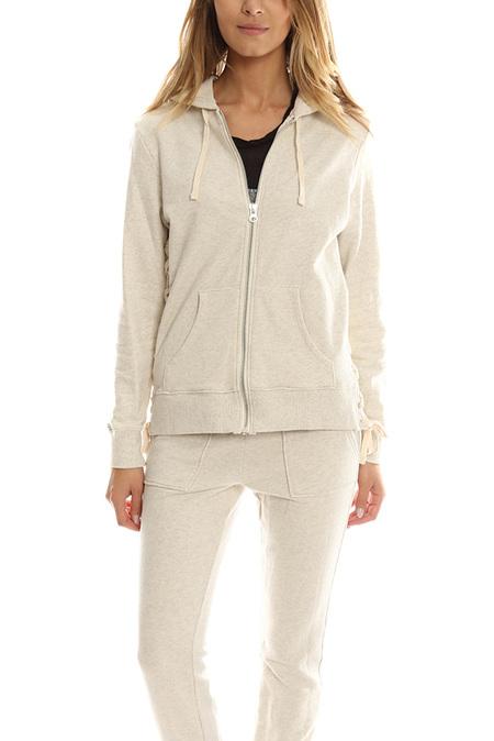 Pam & Gela Lace Up Hoody Sweater - Oatmeal