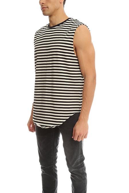 R13 Sleeveless Muscle Tee - Black/White