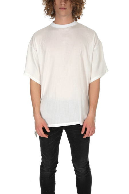 Long Journey Baggy Contrast Back T-Shirt - White Patchwork