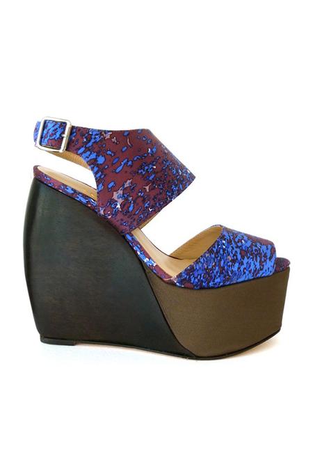 Loeffler Randall Estrella Satin Wedge Shoes - Blue/Black