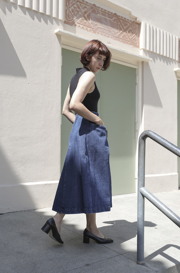 CARLEEN Denim Pocket Skirt in Blue