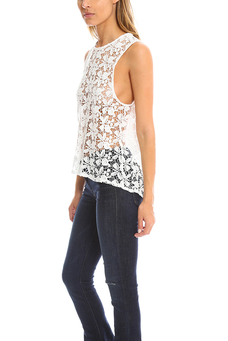 Roseanna Lace Tank - White