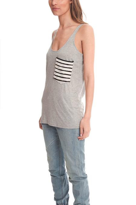 Erin Kleinberg Striped Detail Pocket Tank Top - Grey