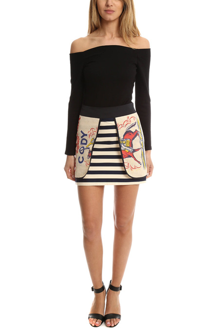 Harvey Faircloth Feed Sack Layered Mini Skirt - Multi